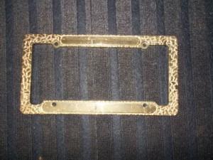 lisence plate frame gold